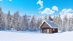 La neige a couvert la cabine de rondin en montagnes au jour d'hiver banque de vidéos
