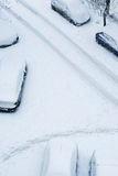 La neige a couvert des routes Photo stock