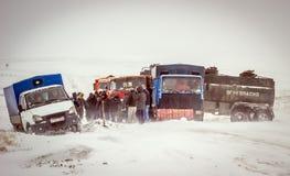 La neige a couvert des routes Image libre de droits