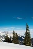 La neige a couvert des sommets de montagne et des arbres Photographie stock