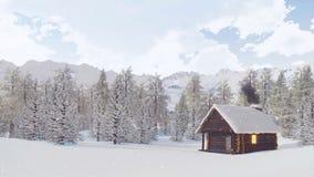 La neige a couvert la hutte de montagne au jour d'hiver de chutes de neige banque de vidéos