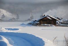 La neige a couvert l'horizontal dans la Chine du Nord images libres de droits