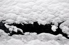 La neige a couvert l'hublot Photos stock