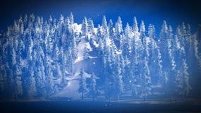 La neige a couvert la forêt de Noël dans le rendu des montagnes 3d Photos stock