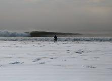 La neige a couvert la plage de Rockaway Photos libres de droits