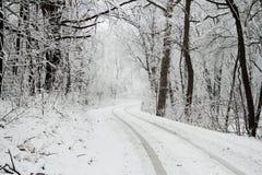 La neige a couvert la route Photo stock