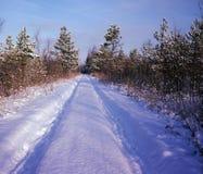 La neige a couvert la route Images libres de droits