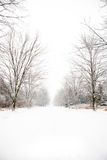 La neige a couvert la route de campagne Images libres de droits