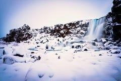 La neige a couvert la scène au parc national de Thingvellir photographie stock libre de droits