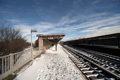 La neige a couvert la station de train de NYC Photos libres de droits