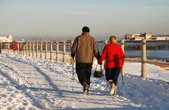 La neige a couvert le bord de mer, St.Leonards-on-Sea Image libre de droits