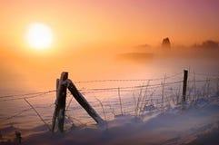 La neige a couvert le champ dans le coucher du soleil
