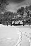 La neige a couvert le champ dans le Central Park à New York Image stock