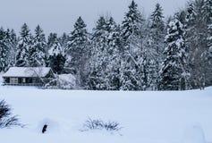 La neige a couvert le cottage Image stock