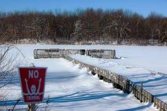 La neige a couvert le lac Images libres de droits