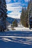La neige a couvert le parcours ouvert Photographie stock libre de droits
