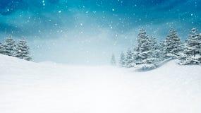 La neige a couvert le paysage calme d'hiver aux chutes de neige Photographie stock libre de droits