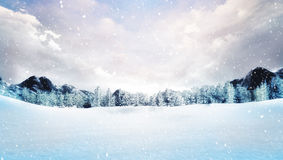La neige a couvert le paysage de montagne d'hiver aux chutes de neige Photographie stock