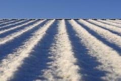 La neige a couvert le toit Photos libres de droits