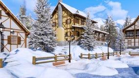 La neige a couvert le village de montagne alpin au jour d'hiver illustration stock