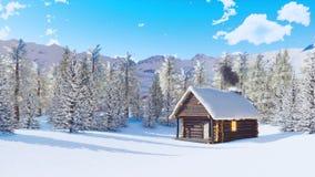 La neige a couvert la maison alpine de montagne au jour d'hiver clips vidéos