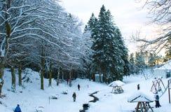 La neige a couvert la voie à Bergen photographie stock