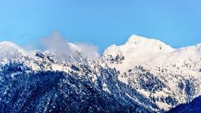 La neige couverte fait une pointe les crêtes de tintement et d'autres crêtes de montagne des montagnes de côte en Colombie-Britan Photographie stock libre de droits