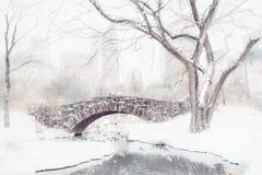 La neige de Central Park a couvert le pont de Gapstow Images stock
