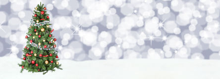 La neige de fond d'arbre de Noël tient le premier rôle la copie s de copyspace de décoration Photos libres de droits