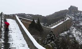 La neige de poing sur la Grande Muraille Image libre de droits