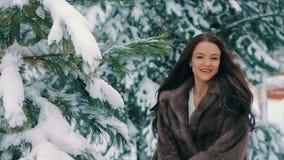 La neige de secousse de femme de brune du pin d'hiver s'embranche mouvement lent clips vidéos