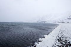La neige et la brume sur la péninsule de Reykjanes Images stock