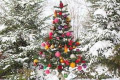 La neige extérieure a couvert l'arbre de Noël Image stock
