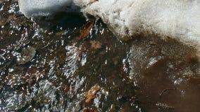 La neige fond Neige de fonte de crique de ressort banque de vidéos