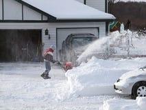 La neige nettoient, tempête de neige de 2011 Images libres de droits