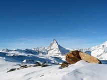 La neige s'est recroquevillée Matterhorn Photos libres de droits