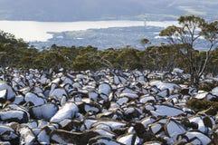 La neige sur la roche fait face à l'Australie Images libres de droits