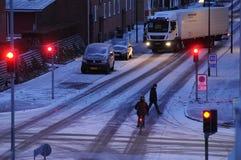 La neige tombe au Danemark photographie stock libre de droits
