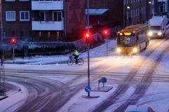 La neige tombe au Danemark images libres de droits