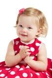 La neonata applaude le sue mani Fotografia Stock