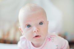 La neonata curiosa esamina la macchina fotografica fotografia stock