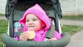 La neonata si siede in un passeggiatore di bambino e mangia un biscotto stock footage
