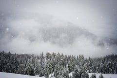 La neve cade nelle montagne Fotografia Stock Libera da Diritti