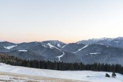 La neve del paesaggio dappertutto è bianca Fotografia Stock