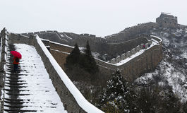 La neve del pugno sulla grande muraglia Immagine Stock Libera da Diritti