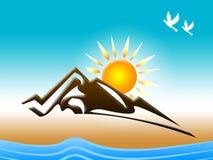 La neve della montagna rappresenta lo stormo degli uccelli e delle alpi Immagini Stock