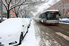 La neve della via Pechino Immagine Stock