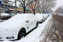 La neve della via Pechino Immagini Stock Libere da Diritti