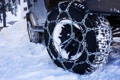 La neve delle catene Fotografie Stock Libere da Diritti