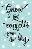 La neve moderna di calligrafia di Natale è appena coriandoli dal cielo! royalty illustrazione gratis